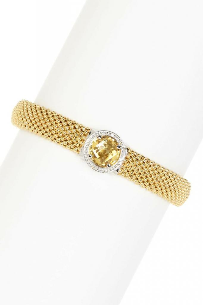 Italian Diamond Citrine Popcorn Mesh Bangle - 0.04 ctw