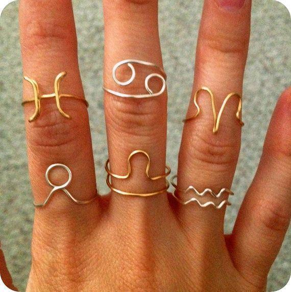 Zodiac Sign Ring Silver Plated or Gold colored available