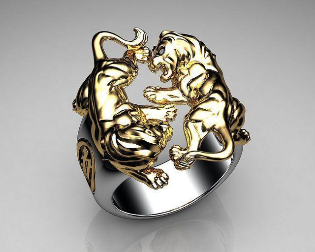 Unique Mens Ring Lion Ring Sterling Silver and Gold with Black Diamond