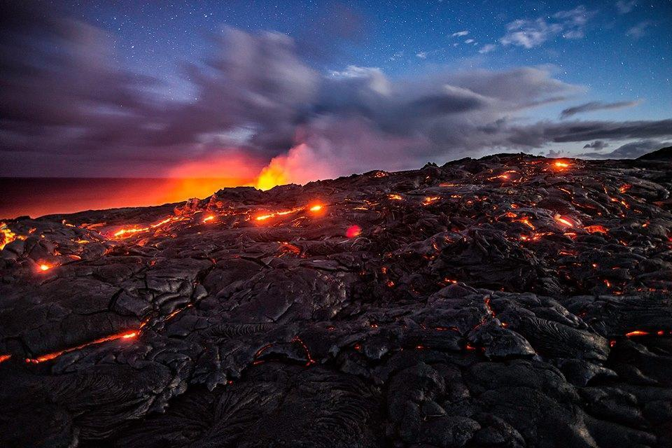Lava Surface Flow Under the Stars