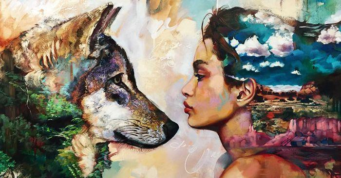 Tattoo of girl and The Awsome Dog