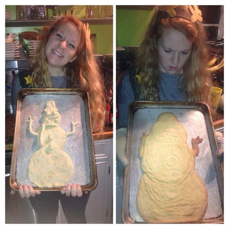That awkward moment when your snowman cookie turns into Jabba The Hutt