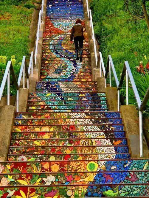 The secret stairs of mosaic, San Francisco
