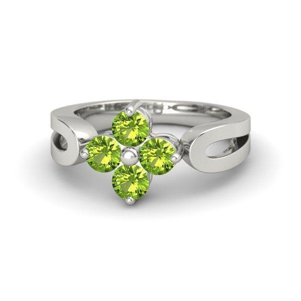 14K White Gold Ring with Peridot  Simple Quartet Ring