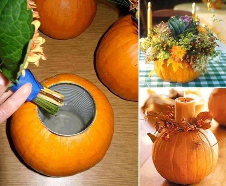 Pumpkin vase decoration halloween homemade decorations for Home made thanksgiving decorations
