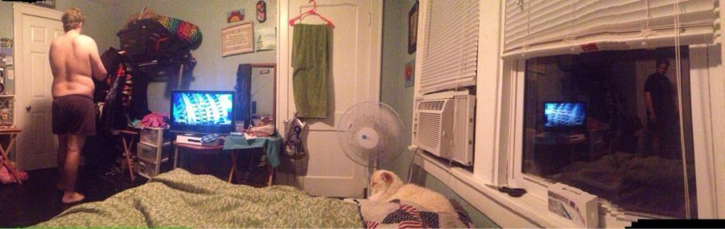 My girlfriend was taking a panorama of our room and I changed just at