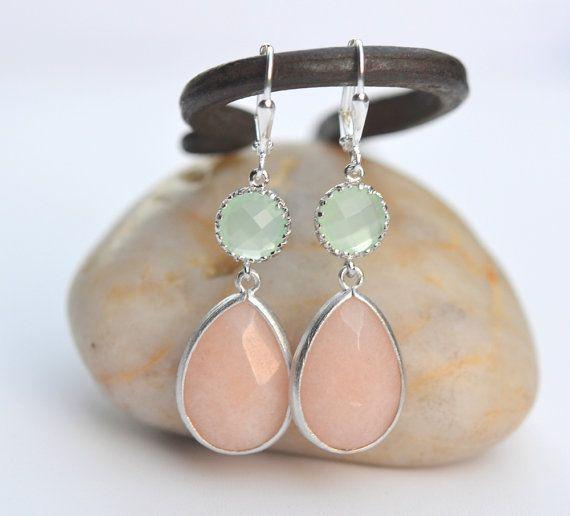 Soft Peach and Mint Bridemaid Earrings in Silver. Dangle Earrings. Bri
