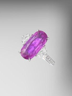GIA Certified Pink Sapphire and Diamond Ring