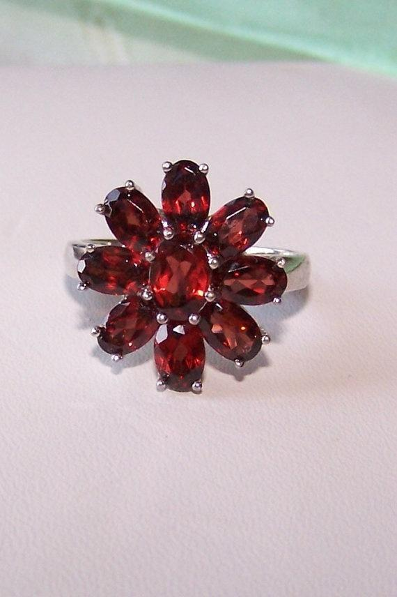 Garnets Ring Sterling 9 Oval Gemstones by JewelsByDesign on Etsy, $75.