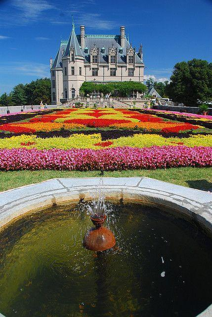 Floral carpet at the Biltmore Estate in Asheville, North Carolina