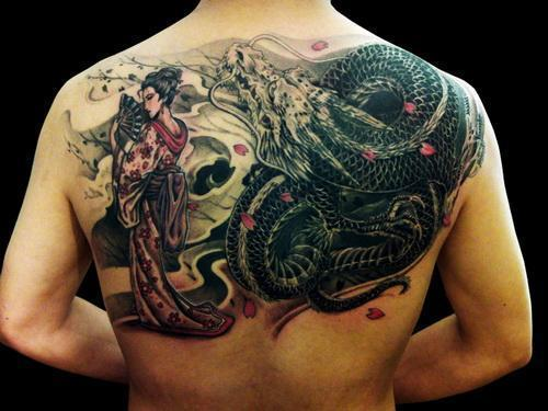 back asian tattoo dragon