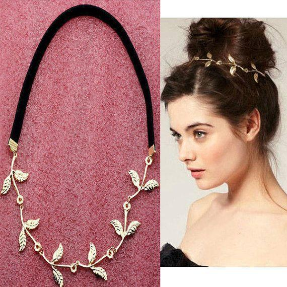 Gold Ladies Hair Accessory Leaf Headband Hair Band