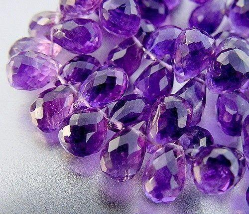 Grape Purple Amethyst Faceted Teardrop Drop Briolette 12 Beads set