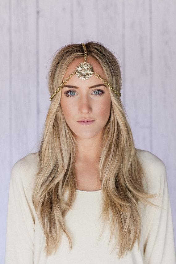 Music Festival Headband Gold Cleopatra Head Piece Metal Gold Chain Hea