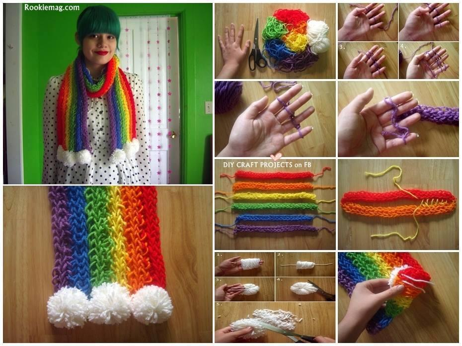 How to make Rainbow Finger Knitted Scarf! DIY