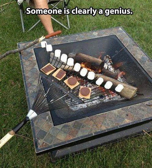 Making S'mores like a boss.