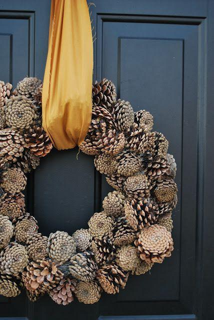Fall wreath made out of pine cones