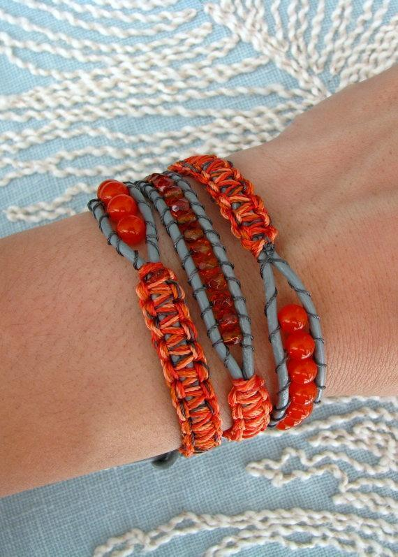 This is different macrame and beaded wrap bracelet