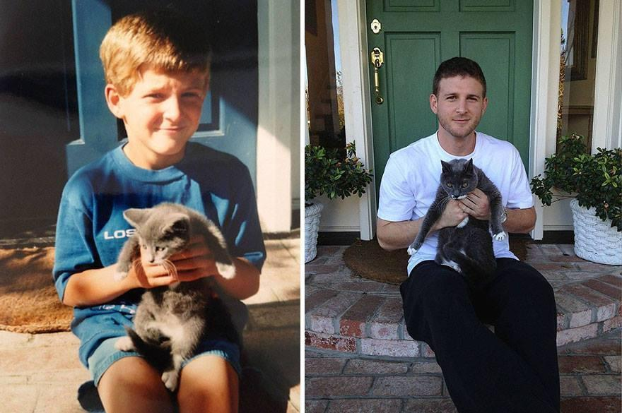 Before-And-After Photo Of Cats Growing Up