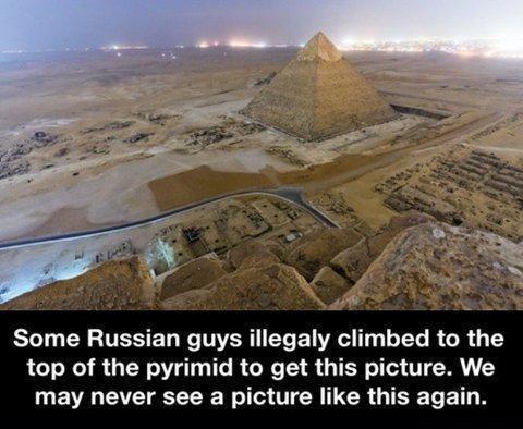 Illegal pyramid climbing