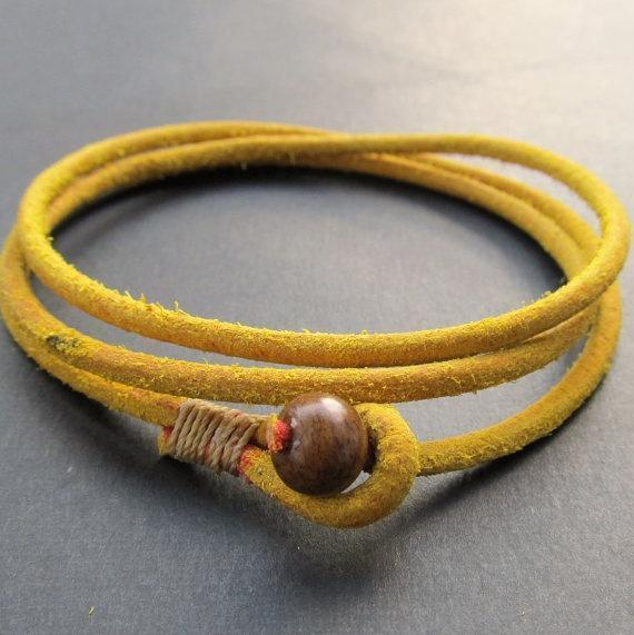 Mens yellow rought leather wrap bracelet
