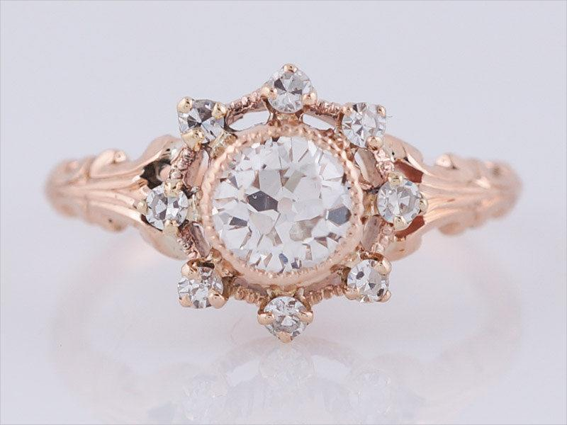 Antique Vintage Rose Gold Engagement-Ring
