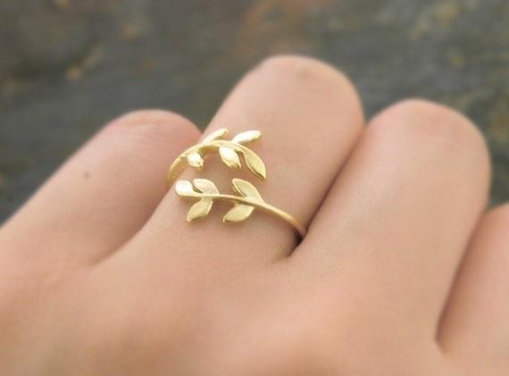 Matte Gold Finished-Willow Leaf Wrapped Around Your Finger Adjustable