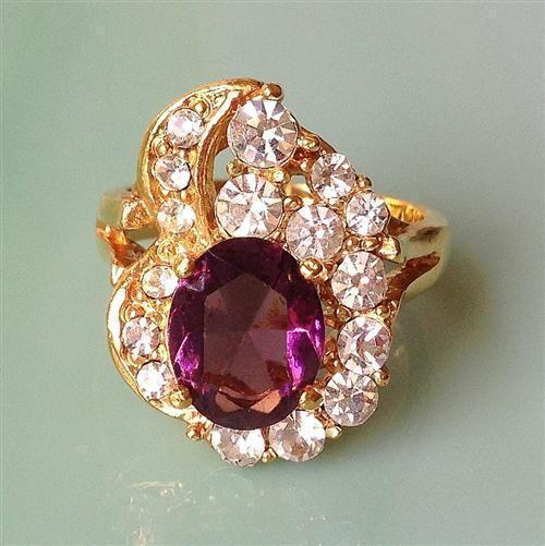 Amethyst & Clear Abstract Gold-Plated Ring Size