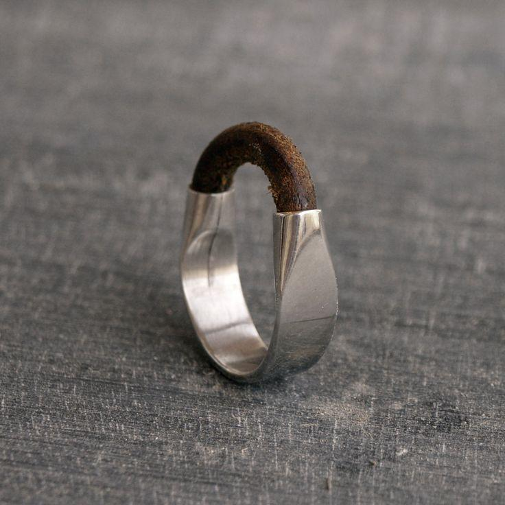 Sterling Silver ring, Silver ring Leather and Silver ring sterling silver Men's