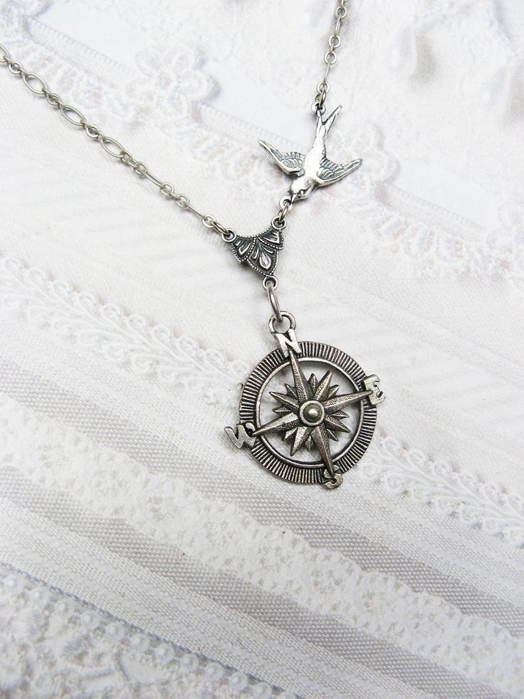 Silver Compass Necklace Silver Guidance Steampunk by birdzNbeez