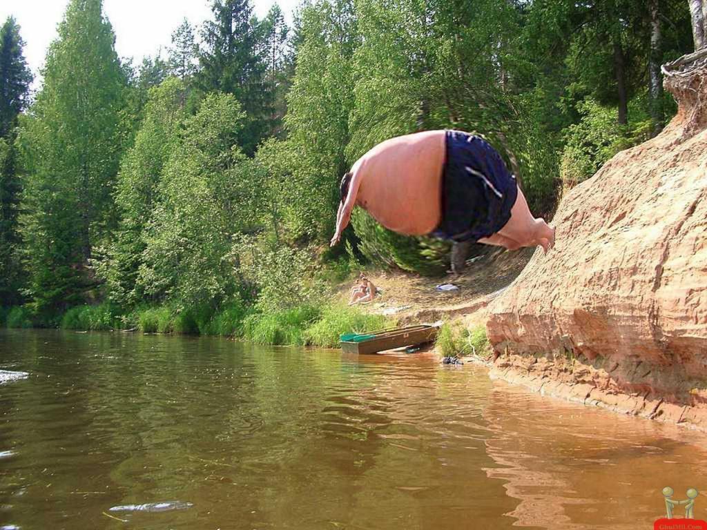 funny Jump fat man