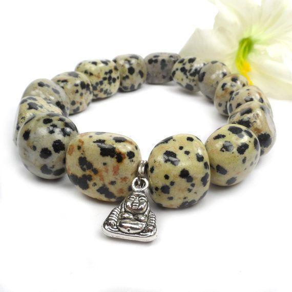 Dalmatian Jasper Bracelet, Buddha Charm Stretch Stone Bracelet, Yoga B