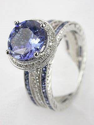 Antique Style Sapphire Bridal Ring - unique jewelry