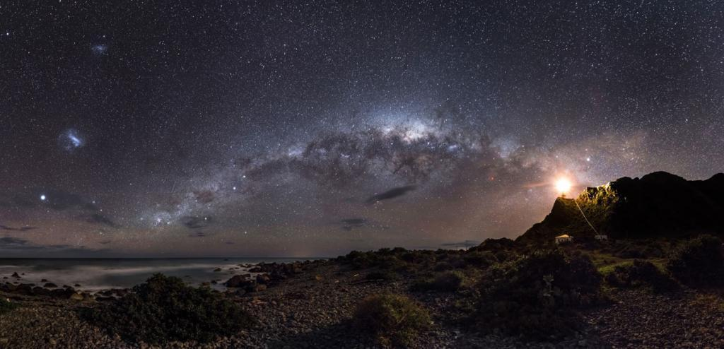 Milky Way emerges from a lighthouse