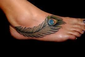 Foot tattoo peacock feather