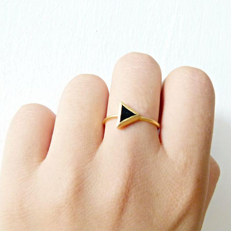 Triangle Ring with Black Onyx Stone
