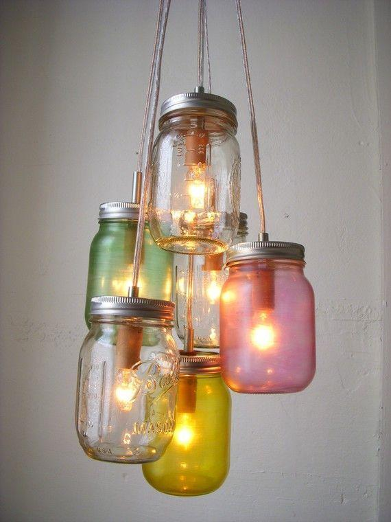 Pretty Pastels Mason Jar Chandelier