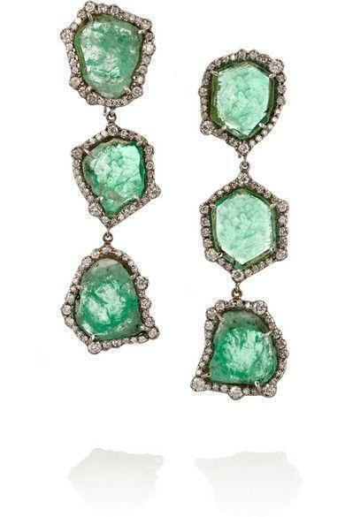 karat blackened white gold, emerald and diamond earrings