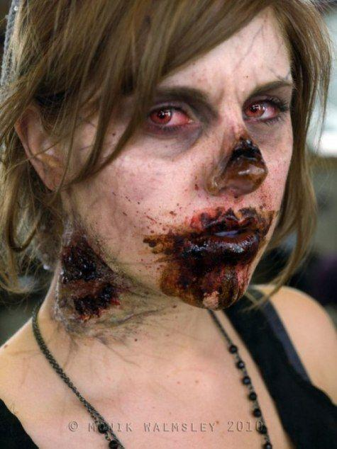 Zombie makeup- like the bite on the neck (collar bone bite would be aw