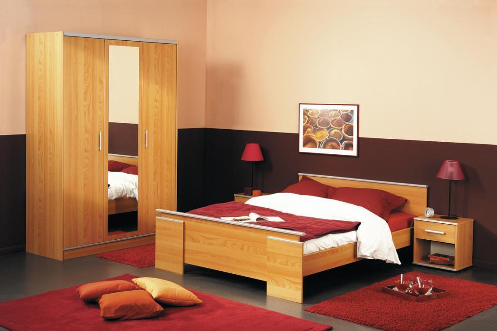 Red Double Bed Interior Design