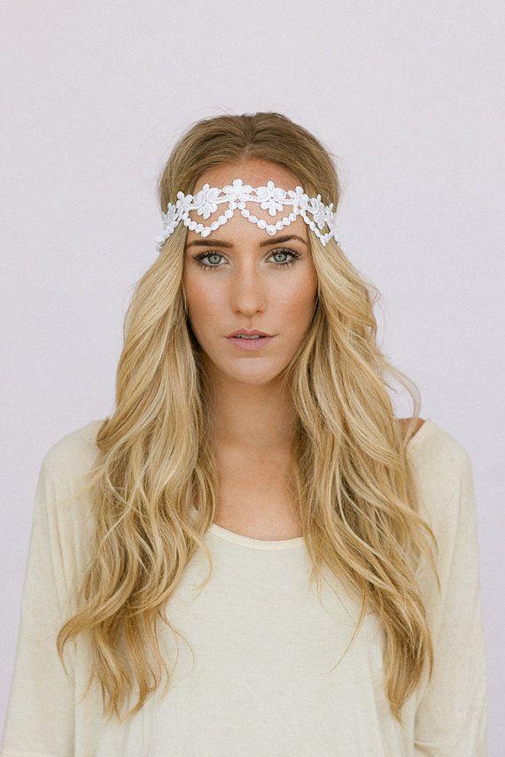 Bridal Headband Scallop Lace Beautiful Scallop Cream Vintage Wedding H