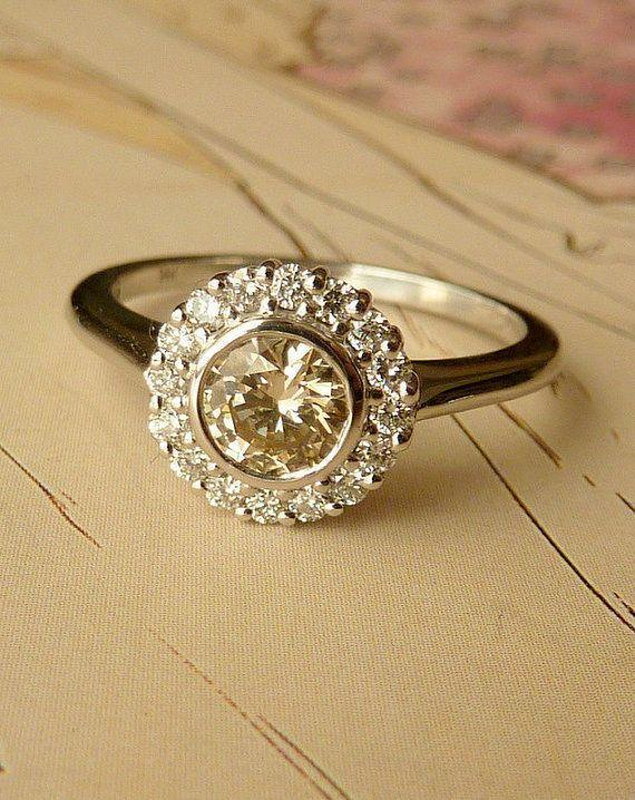 White Gold Bezel Set Diamond Halo Ring