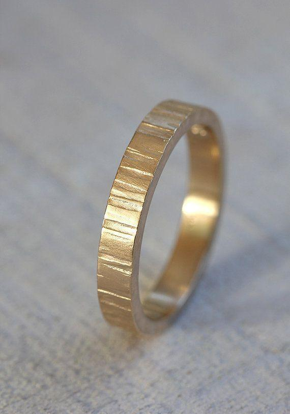 Yellow Gold Men's tree bark wedding band