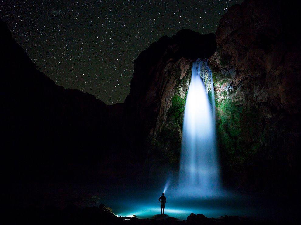 Water Falling a Night Photo