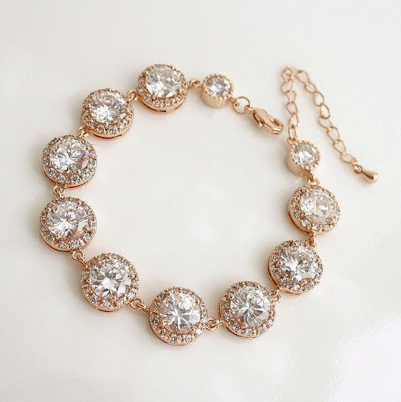 Luxury ROSE GOLD Wedding Bracelet Wedding Jewelry Bridal Bracelet Clea