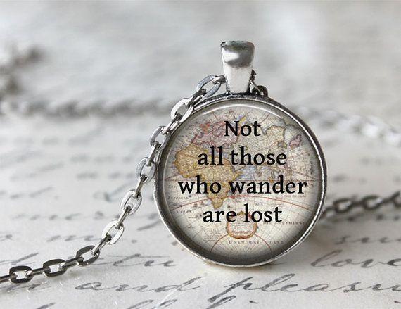 quote necklace not all those who wander are lost