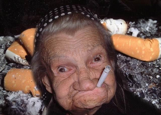 Old Woman Smoking Cigrate