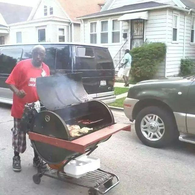 This guy goes around the neighborhood selling bar b que like an ice cr