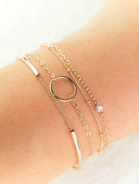 minimal gold bracelet, delicate gold bracelet, modern gold…
