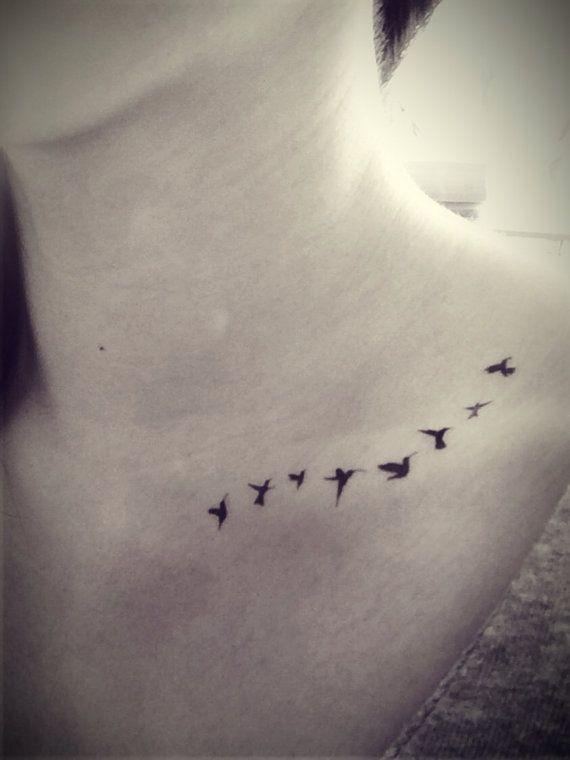 Flying Tiny Birds Swallow silhouette Tattoo